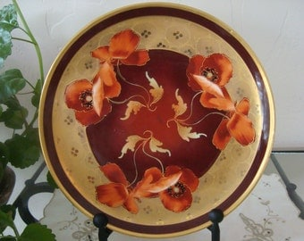 "WA Pickard ""Poppies in Gold"" plate"