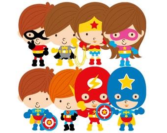 Cute superhero children clipart