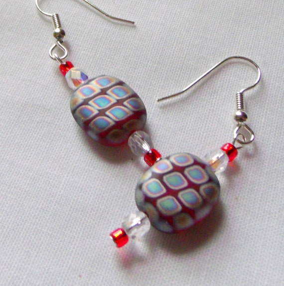 Geometric  earrings - flat red frosted beads-  holiday -  festive earrings - grab gift - stocking stuffer - metallic - Lizporiginals