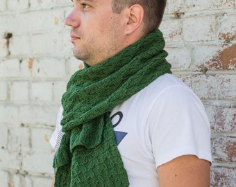 Hand knit Men's Scarf for him winter , man's green scarf,  beautiful hand knitted scarf, knitted scarf men, to order
