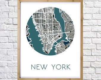 Print of City map New York, home decor, minimal art, digital download, instant download, wall art