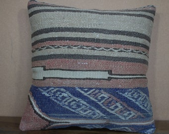16x16 Kilim Pillow 40x40 cm Pastel Kilim Pillow, Vegetable Dyes Turkey Kilim Pillow Bohemian Pillow Kilim Cushion SP40-271
