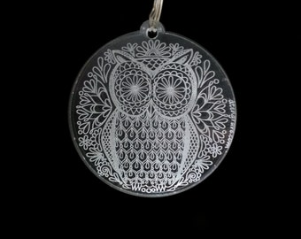 mandala owl keychain