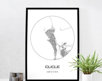 Iquique Map Print - City Map Art of Iquique Chile Poster - Coordinates Wall Art Gift - Travel Map - Office Home Decor
