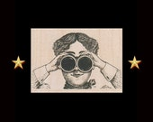 Lady With Binoculars Rubber Stamp, Wood Mounted, Steampunk Rubber Stamp, Steampunk Goggles, Woman With Binoculars, Victorian Rubber Stamp