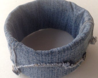 Faded Blue Denim Fabric Cuff Bracelet