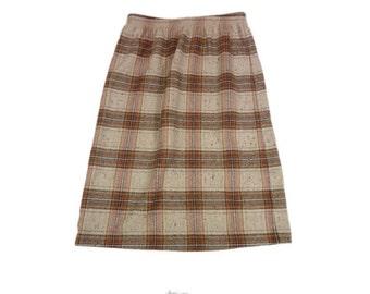 Womens Brown Wool M Blend Plaid Skirt Medium Vintage Look