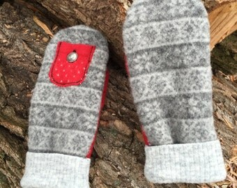 Felted Wool Mittens made from Repurposed Sweaters Red Grey Fair Isle
