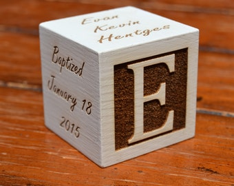 Personalized Baptism Block Christening First Holy Communion Religious Baby Gift