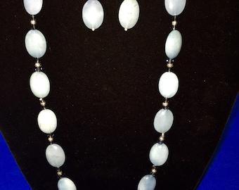 Aqua Marine and Crystal Necklace Set