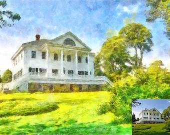 Custom Home Watercolor / Custom Home Drawing / Custom House Painting