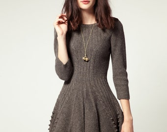 Wool blend knit dress knitted dress wool dress