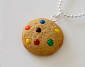 Rainbow Chocolate Candy Cookie Necklace - Polymer Clay Miniature Food Jewelry