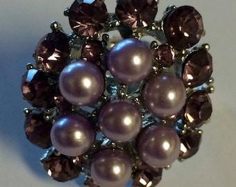 Vintage Costume Amethyst And Purple Pearl Adjustable Ring