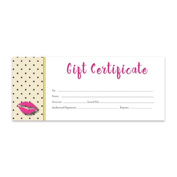 Gift certificate printable gift certificate download printable lips lipsense pink lips blank gift certificate download gold mustard direct sales premade thirty one 31 senegence yadclub Image collections