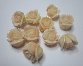 Vintage Carved Salmon Coral Roses