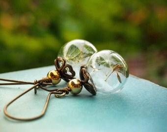 Dandelion Earrings, Drop Earrings, Glass Bubble Earrings, Long Earrings, Bohemian Earrings, Statement Earrings, Romantic Gift, Gift for her