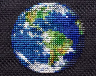 Earth Planet Cross Stitch Pattern PDF Instant Download