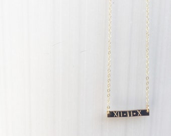 Thin Hand Stamped Gold Filled Bar Necklace/custom bar necklace