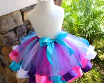 Frozen Ribbon Tutu, Frozen Tutu, Pink Ribbon Tutu, Purple Ribbon Tutu, Doc McStuffins Ribbon Tutu, Colorful Ribbon Tutu, Birthday Tutu