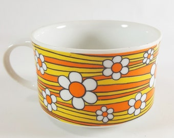 Mod Vintage Flower Power Coffee Mug Orange and Yellow