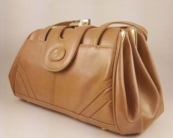 Handbag 1970's Tan Two Straps Retro