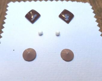 Three Pair Set Vintage Stud Earrings Geometric Shapes With Brown Earth Tone Shades B1C1