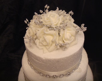 pearl and silver beaded rose wedding cake topper