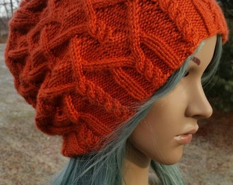 Large cabled slouchy hat