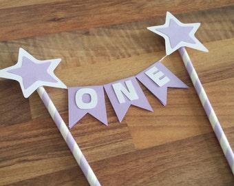 Star Cake bunting, Flag banner, Star cake topper, Purple star topper, Twinkle twinkle little star,  Cake topper, Baby shower, 1st birthday