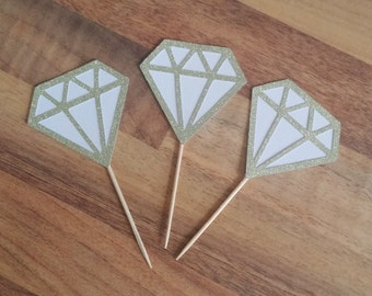 Diamond cake toppers, 12 Bling Cupcake Topper, Gold Glitter and white, Engagement party, Hens Night, Bridal shower, Kitchen tea