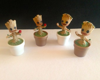 Plant baby with pot and flower in hand for miniature fairy garden fairy garden Groot baby can choose different models
