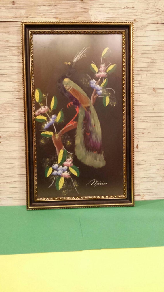 Vintage 1950s Mexican Feather Craft Bird