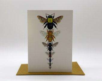 Australian Native Bee Cards x 4