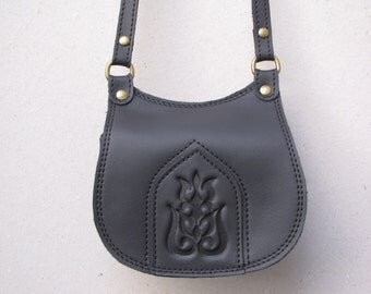 small leather bag, black bag, gift for her