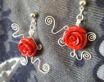 Rose Swirl Dangle Studs