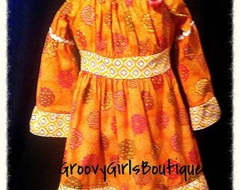 SALE!!  Toddler Retro-Style Orange & Pink Peasant dress-3T