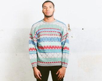 Patterned CHRISTMAS Sweater . Vintage Men's Acrylic Geometric Striped Print Longline 1990s Unisex Oversized Sweater . Small Medium Large