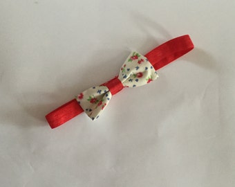 Girls Headband in cream and red age 0-6 months