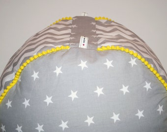 Custom Toddler Pouf,  Floor Pouf Cushion, Beadbag, Zig Zag and stars pattern