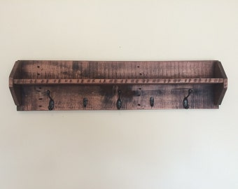 Entryway coat organizer with shelf, handmade from reclaimed oak
