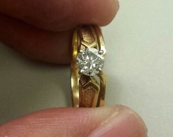 14K Yellow Gold Diamond Engagement Ring, Size 5.5