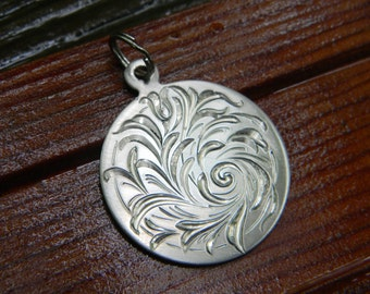 Hand Engraved Flowing Scroll and Flower Design Nickel Silver Pendant