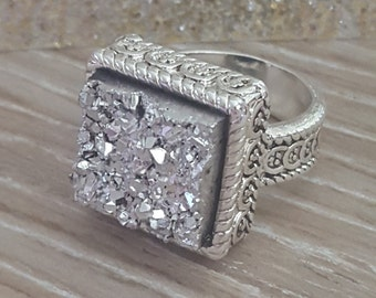 Square Druzy Statement Ring Size 6