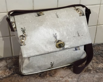 Handmade Oilcloths Rabbit / Hare Shoulder Bag.