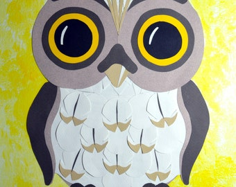 Sweet Owl - mixed media painting