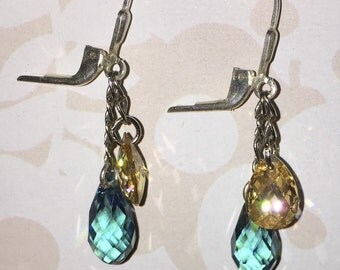 Blueberries and Cream dangling earring Swarovski crystals