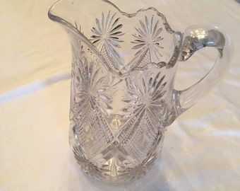 "Vintage American Brilliant Cut Glass Pitcher 9 6/8"" tall"