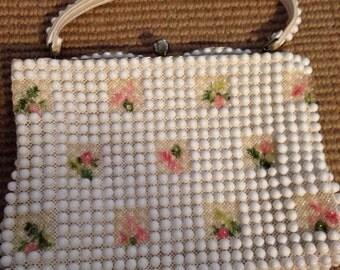 Vintage Grandee Beaded White Pink Rose Floral Summer Garden Handbag Purse