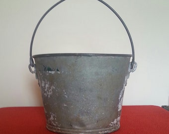 Galvinized Bucket Vintage Heavy Duty Garden Pail Dairy Bucket